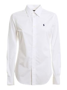 POLO Ralph Lauren - Logo embroidery stretch cotton shirt in white