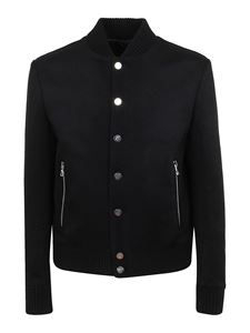 Balmain - Wool blend bomber style sweater in black