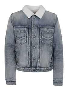 Balmain - Logo embroidery denim jacket in light blue