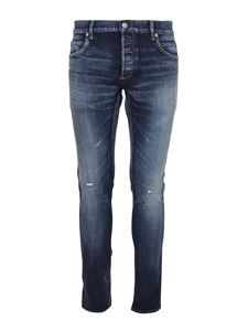 Balmain - Jeans slim fit in denim slavato blu