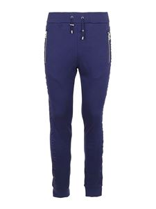 Balmain - Embossed logo cotton track pants in blue