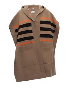 Burberry - Striped wool and cashmere cape in beige