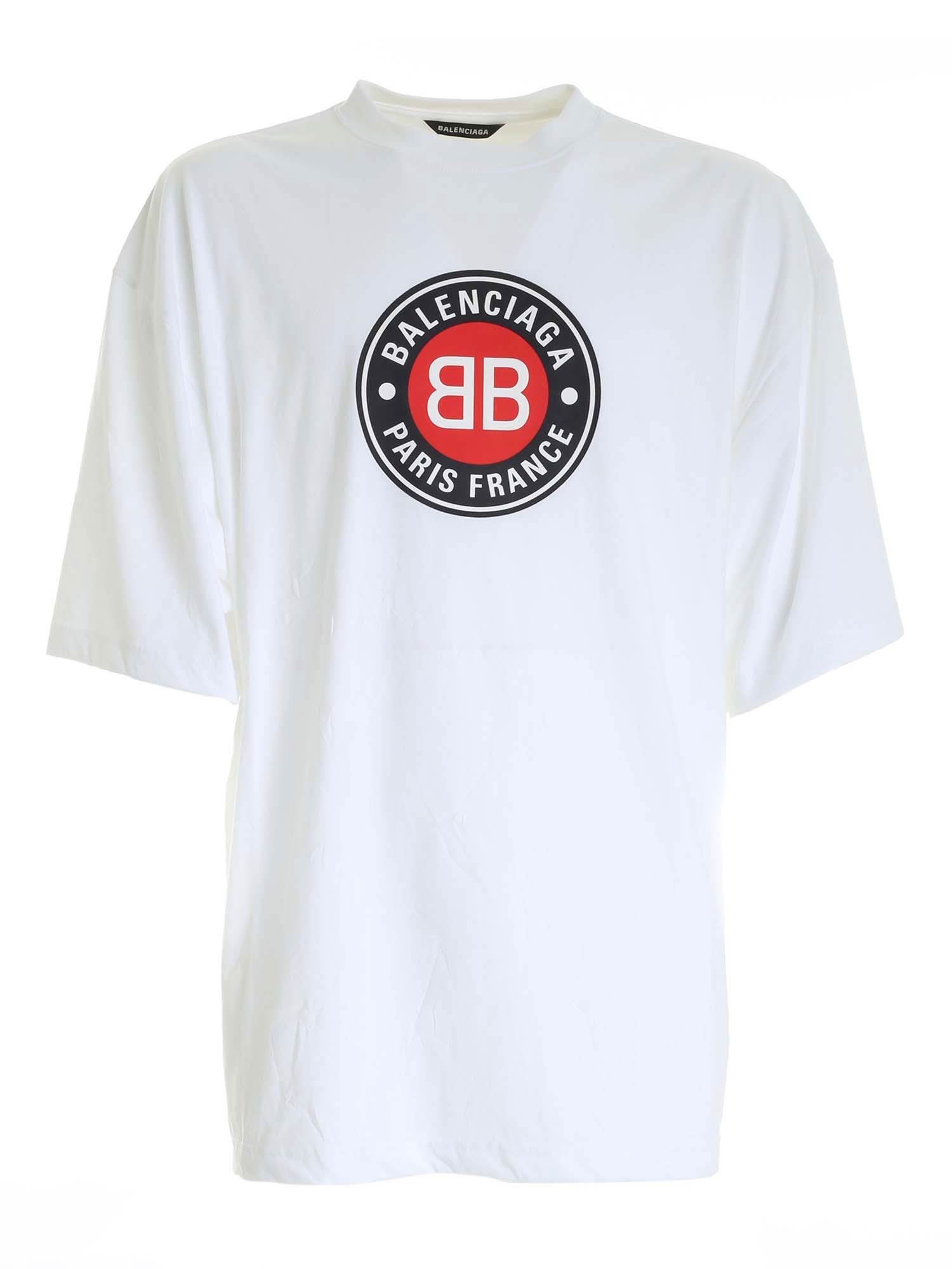Balenciaga Cottons OVERSIZED T-SHIRT WITH BB LOGO IN WHITE