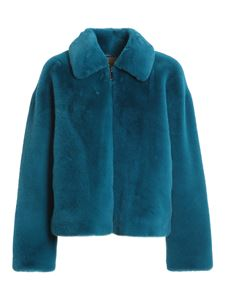 Twin-Set - Faux leather short coat in blu color