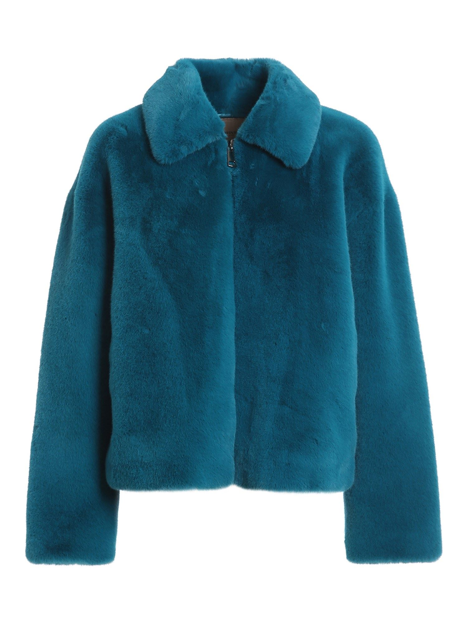 Twinset Leathers FAUX LEATHER SHORT COAT IN BLU COLOR