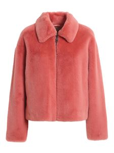 Twin-Set - Faux leather short coat in pink color