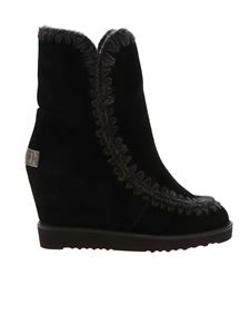 Mou - French Toe Wedge ankle boots in black