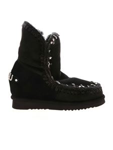 Mou - Inner Wedge Small Metal Stars ankle boots in black