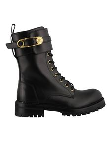 Versace - Safety Pin leather ankle boots in black
