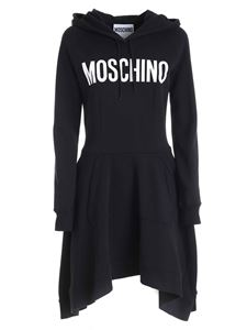 Moschino - Maxi white logo print dress in black