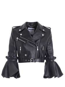 Moschino - Black crop fit biker jacket featuring maxi ruffles