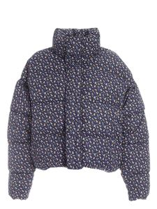Balenciaga - Cropped down jacket with bear print in blue