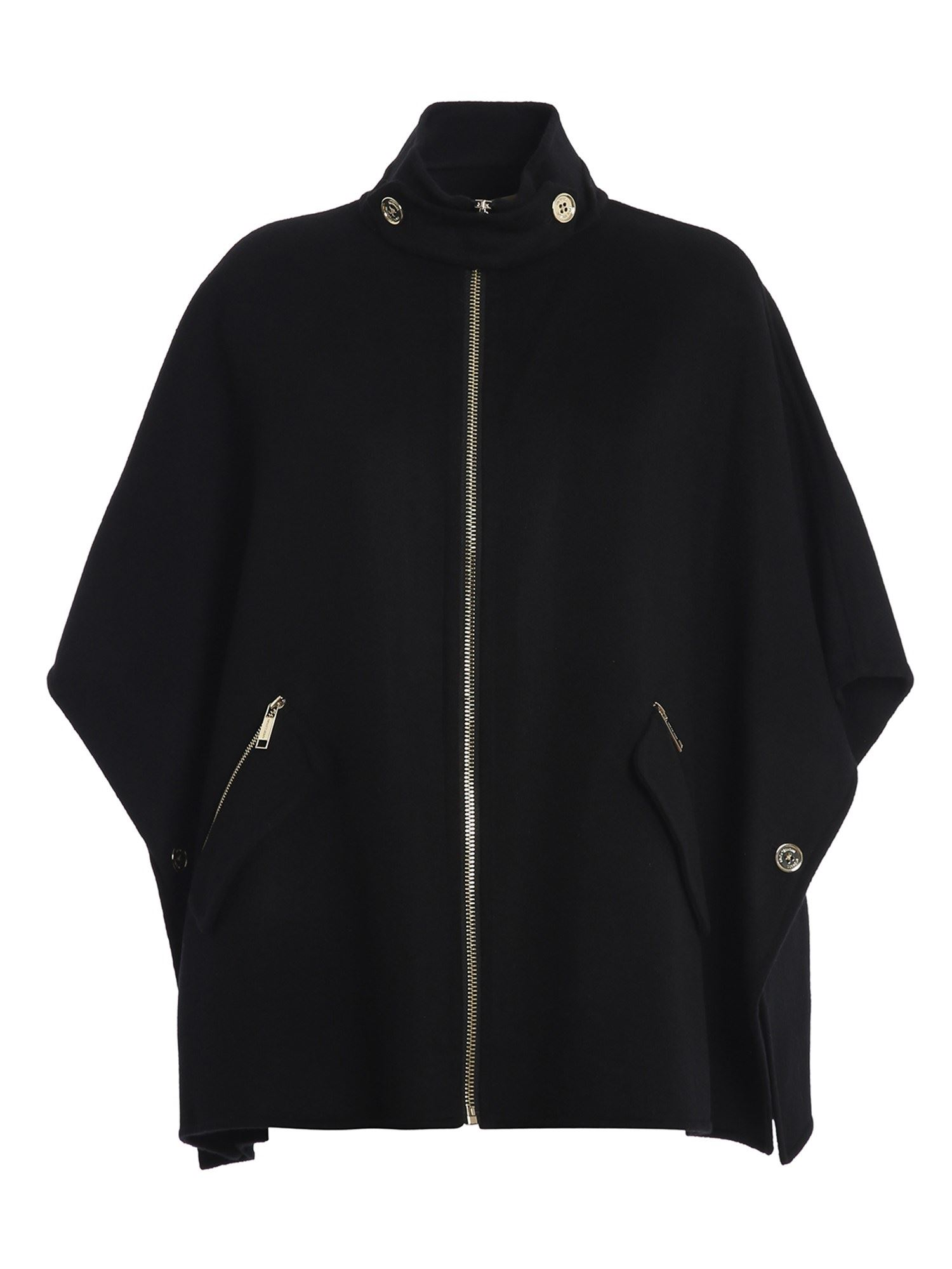 Michael Kors WOOL BLEND PONCHO IN BLACK