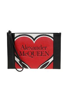 Alexander McQueen - Signature zip leather pouch in multicolor