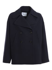 Dondup - Cashmere wool blend pea jacket in blue