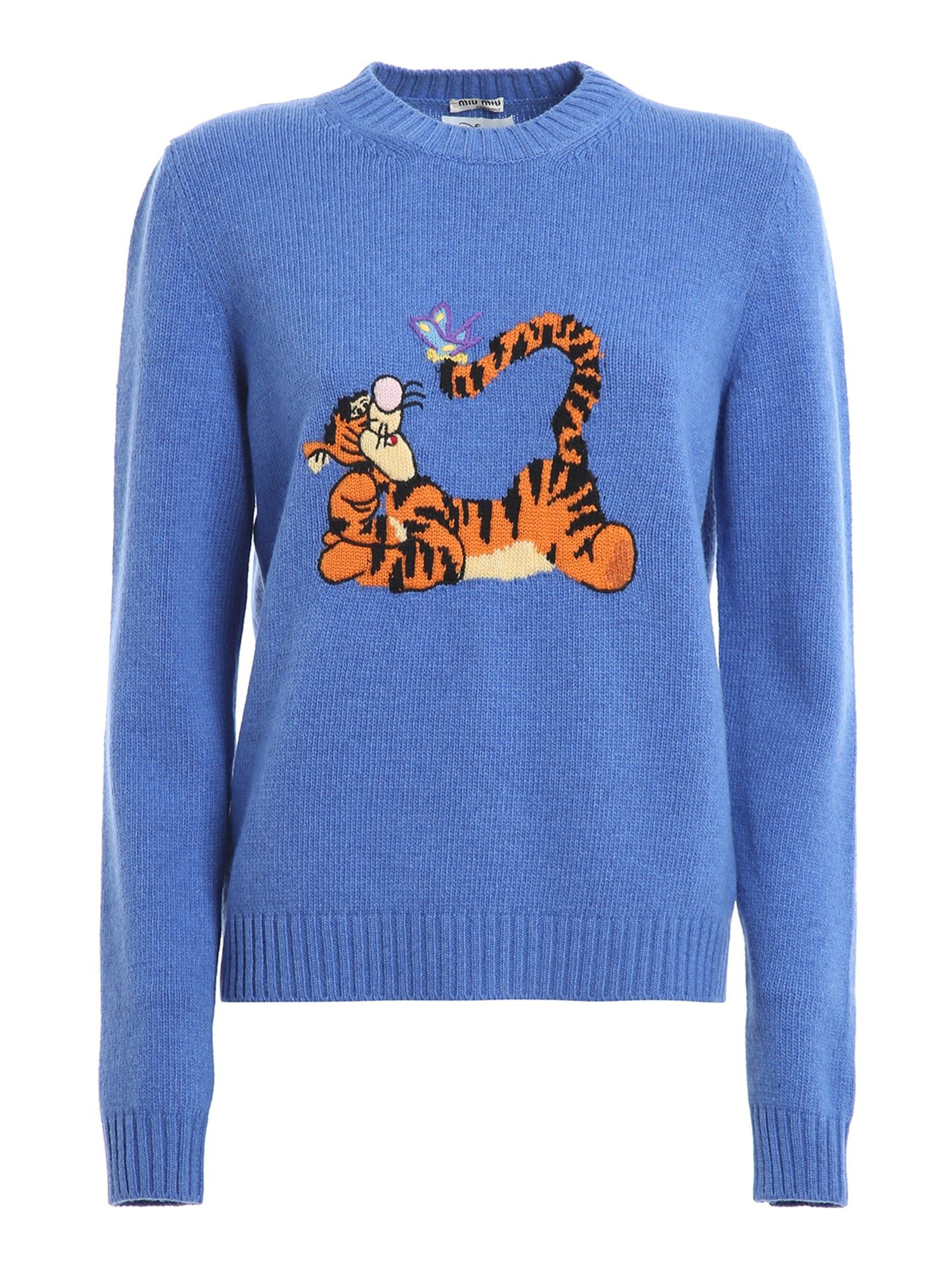 Miu Miu Sweaters TIGGER INTARSIA SWEATER IN LIGHT BLUE