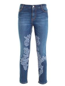 Ermanno Scervino - Lace and rhinestones jeans in blue