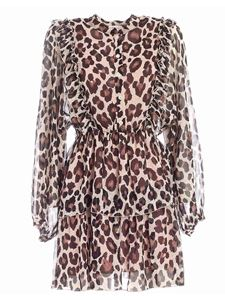 Semicouture - Axelle beige and black animalier print dress