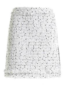 Karl Lagerfeld - Fringes bouclé skirt in ice color