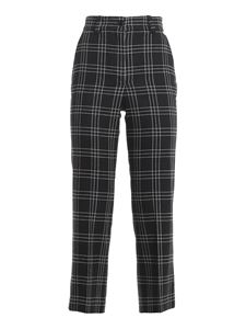 Twin-Set - Check patterned stretch wool pants in black