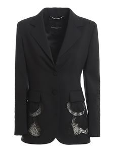 Ermanno Scervino - Lace detailed single-breasted blazer in black