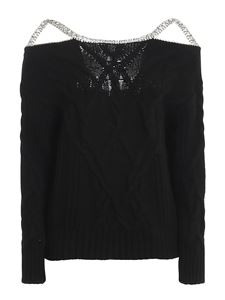 Ermanno Scervino - Jewel strap detailed sweater in balck