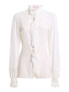 Ermanno Scervino - Lace detailed crepe de chine shirt in white