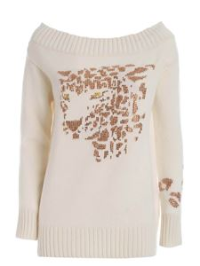 Ermanno Scervino - Rhinestones boat neck pullover in cream color