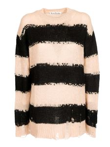 Acne Studios - Distressed striped sweater in Black and Warm Beige