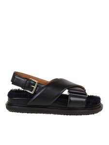 Marni - Leather criss cross sandals in black