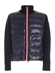 Moncler - Blue cardigan featuring down insert