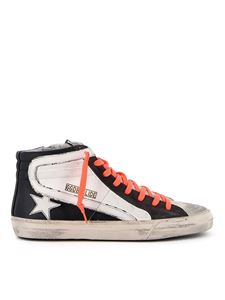 Golden Goose - Slide neon laces leather sneakers in black