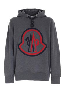 Moncler - Blue and red maxi logo sweatshirt in grey