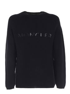 Moncler - Painted logo print pullover in black