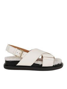 Marni - Napa and shearling Fussbett sandals in white