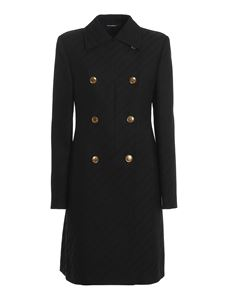 Givenchy - Golden button detailed viscose blend coat in black