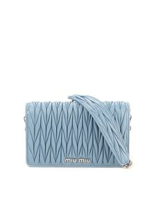 Miu Miu - Matelassé leather chain wallet bag in light blue