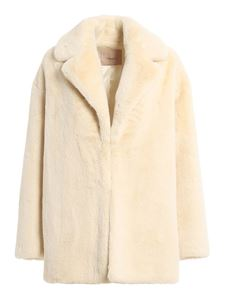 Twin-Set - Faux leather coat in cream