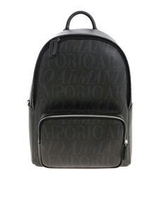 Emporio Armani - Logo pattern backpack in black and grey