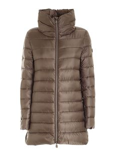 Save the duck - Brown down jacket featuring crater collar