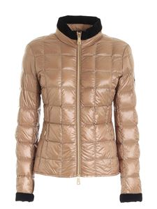 Fay - Logo patch down jacket in camel color
