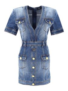 Balmain - Mini abito in denim con scollo a V blu