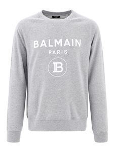 Balmain - Flock logo cotton sweatshirt in grey