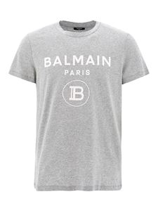 Balmain - Flock logo print cotton T-shirt in grey