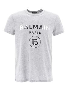 Balmain - Laminated logo lettering T-shirt in grey
