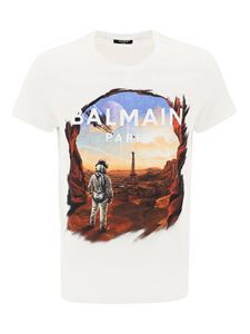 Balmain - Astronaut print cotton T-shirt in white