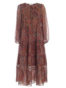 Le Tricot Perugia - Foulard print dress in shades of brown
