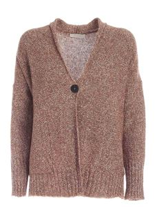 Le Tricot Perugia - Micro sequins cardigan in brown and white