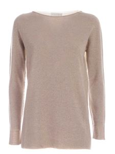 Le Tricot Perugia - Bicolor pullover in beige and ivory color