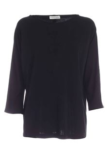 Le Tricot Perugia - Satin bands sweater in black